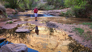 Setting off on the Grandstaff Trail hIke to Morning Glory Natural Bridge