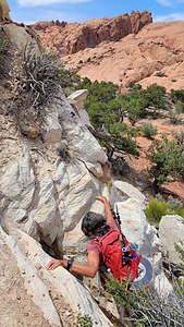 Some rock scrambling along the Upper Muley Twist hike