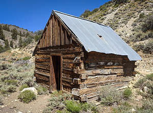 Old Miner's cabin made of railroad ties along the Wyman Creek Road