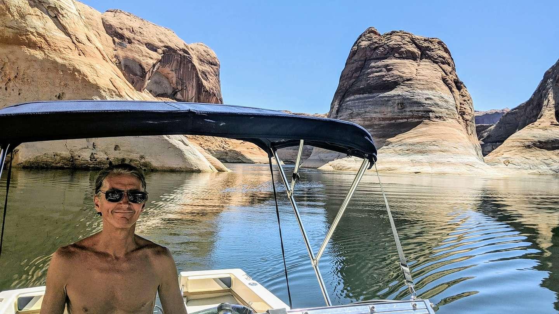 Captain Herb entering Reflection Canyon