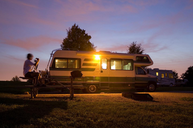 Tom photographing Lazy Daze at dusk - AJG