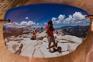 Half Dome summit view in sunglasses - AJG