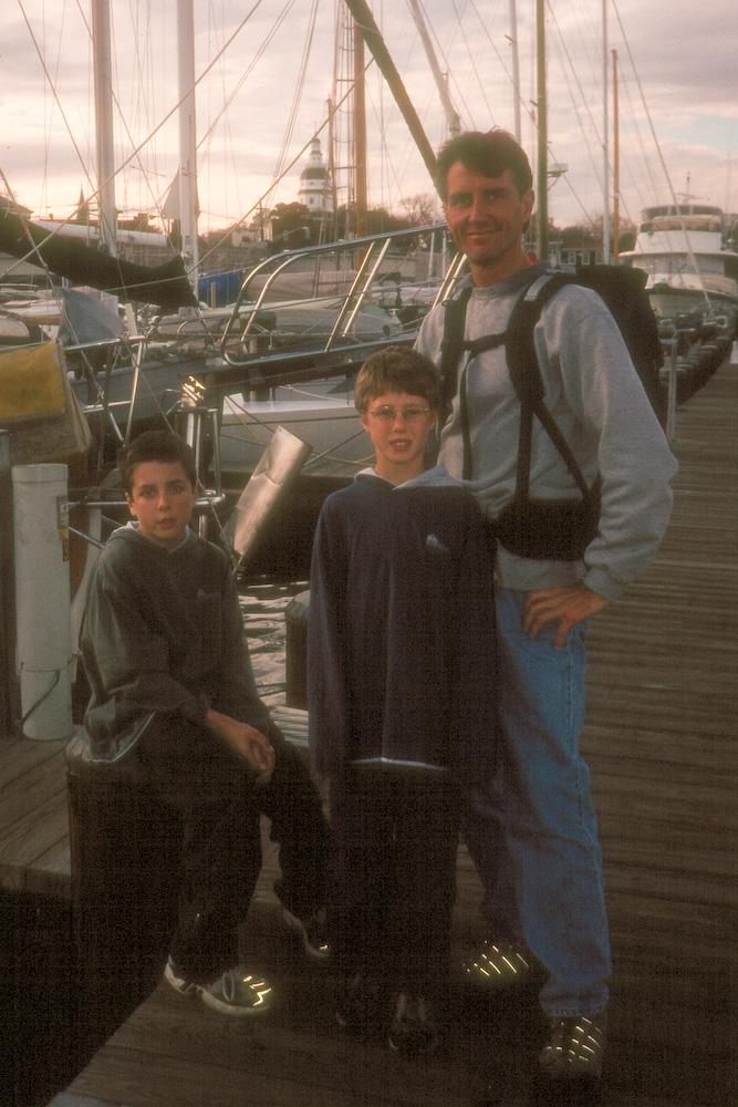 Herb and boys at marina