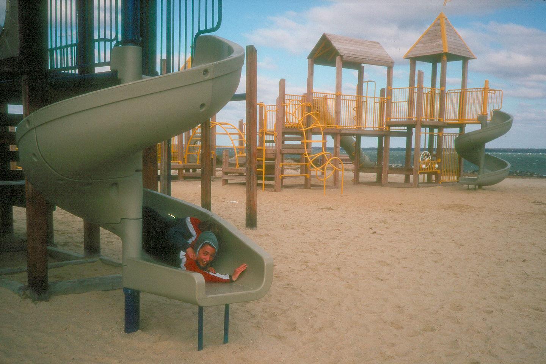 Boys on slide at rest stop