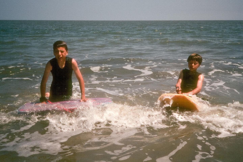 Boys boogie boarding