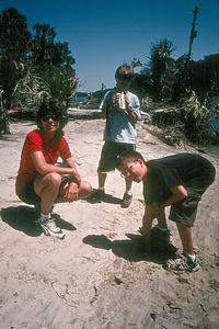 Lolo with boys on beach
