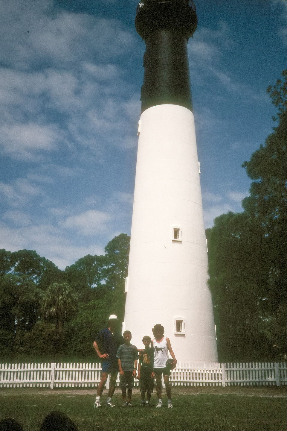 Family with Hunting Island lighthouse