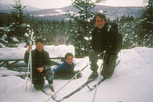 Herb and boys skiing