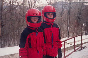 Boys on bobsled run