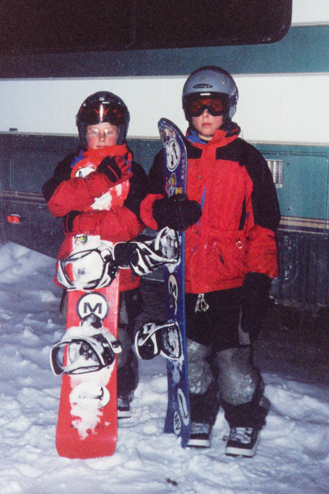 Boys with snowboards
