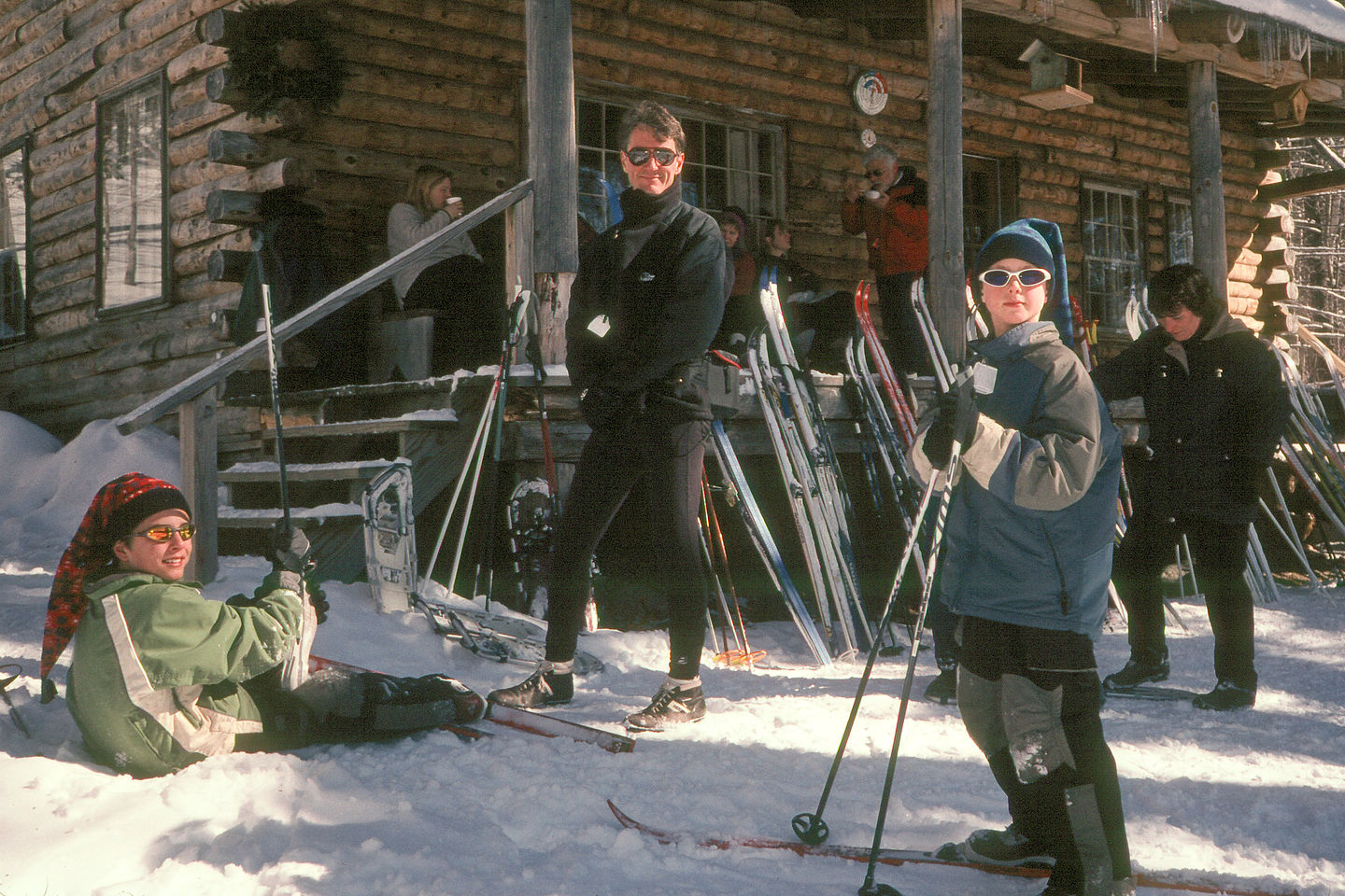 Herb and boys at warming hut on trail