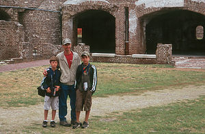 Herb with boys at Fort Sumpter